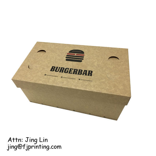 Stampa personalizzata catene di fast food imballaggio <span class=keywords><strong>burger</strong></span> <span class=keywords><strong>box</strong></span> con coperchio diner cibo take away <span class=keywords><strong>box</strong></span>