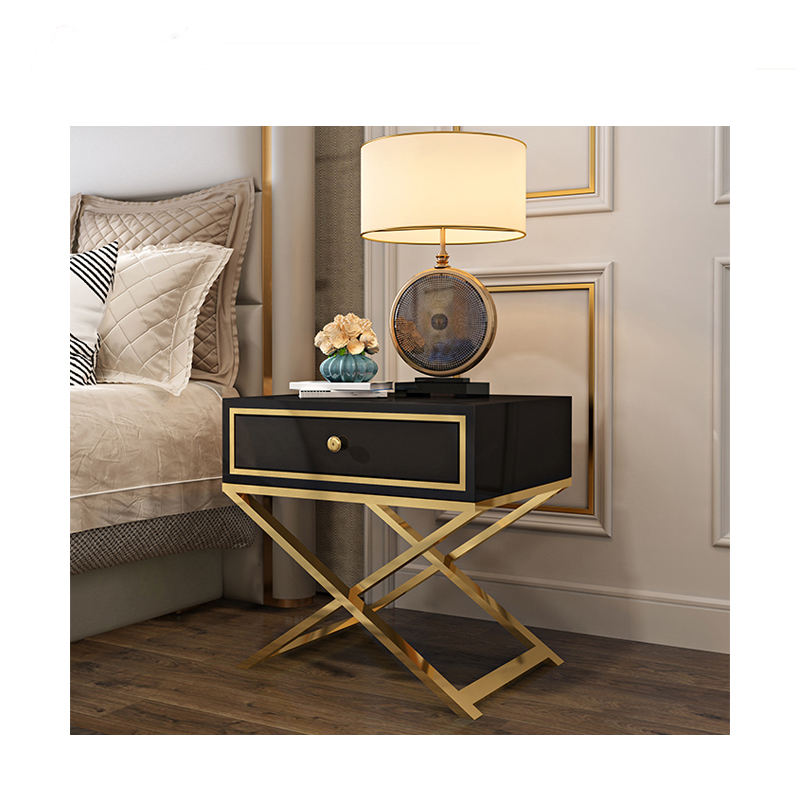Unique Home Hotel Usage Luxury Side Table Mirrored Bedside Table Smart Nightstand