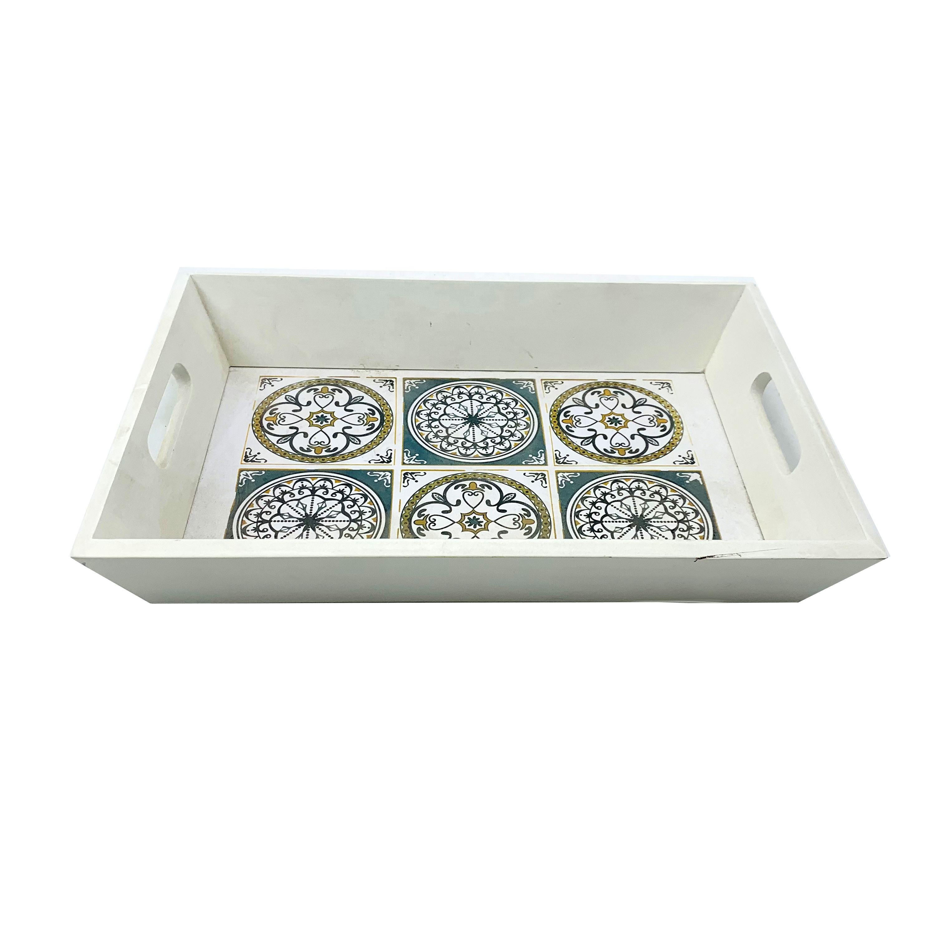 Custom printed decorative serving wood mdf tray for storage and decoration