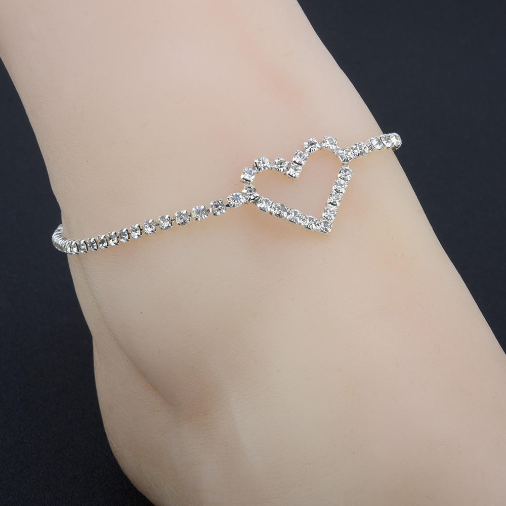 Elegant Crystal Heart Shape Anklet For Women Girls Jewelry
