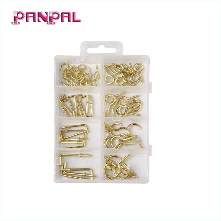 BSCI Approved china factory 66PCS 66 Pcs Assorted Cup Hook/Square Hook/Eye Screw Set