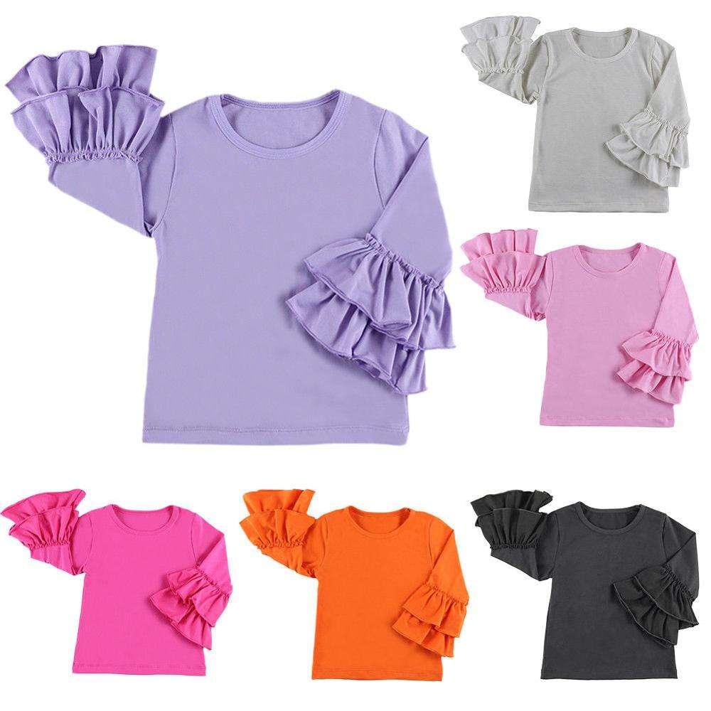 NO MOQ Solid Cotton Raglan Shirts Wholesale Girls Fall Icing Ruffle Raglan Shirt Girls