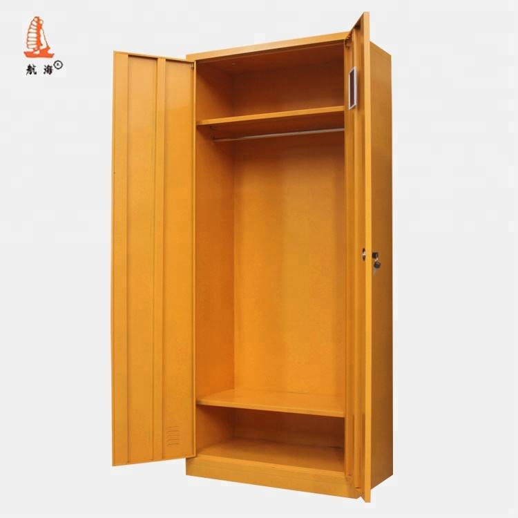 Yellow double door closet steel Low price purple steel almirah 2 drawer metal storage cabinet locker with mirror