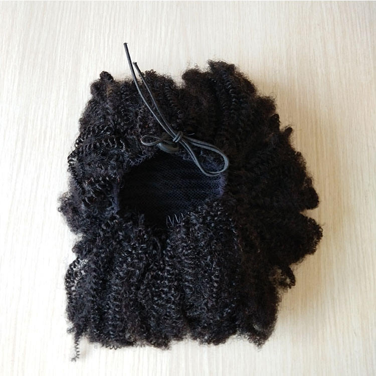 Elastic long afro kinky curly weave 100% real brazilian human hair drawstring ponytails