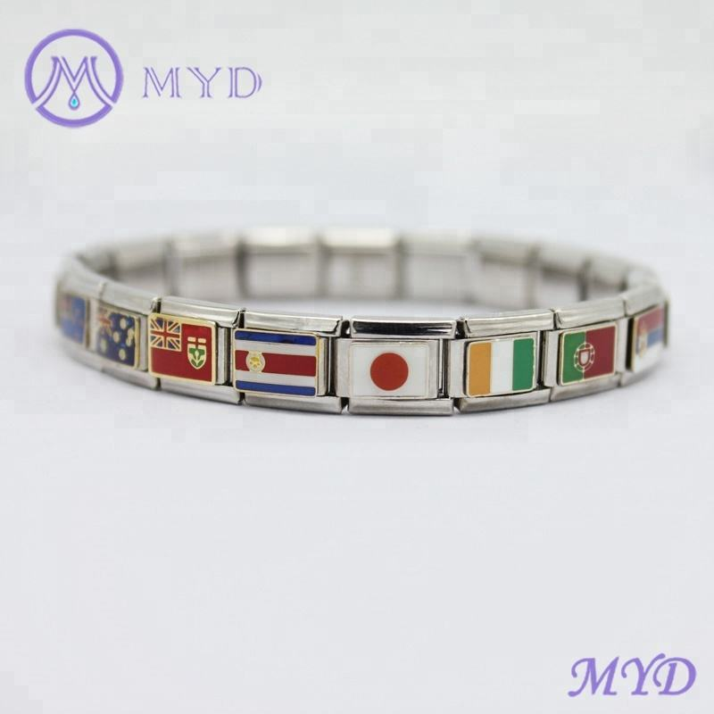 Stainless steel 9mm classic links national Japan flag Italy country flag Italian Charm Bracelet