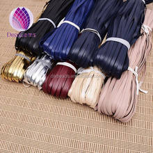 Colorful 10mm fold flat PU leather cord for bags jewelry accessories use