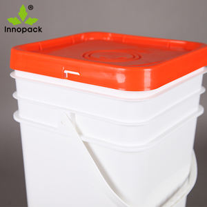 Colored Square 20L Plastic Pail with Lid and Metal Handle For industrial packaging and food packaging