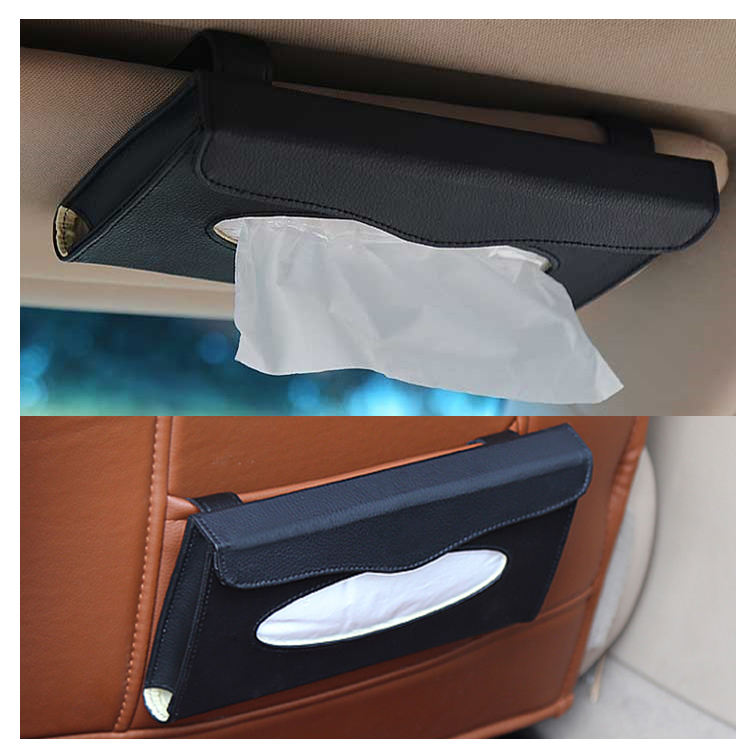 PU Leather car visor tissue paper box holder Car Seat tissue box