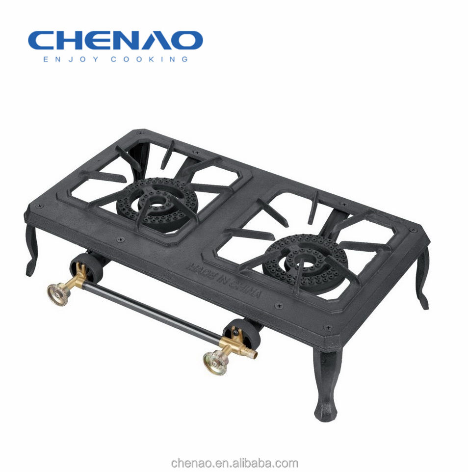 Cast Iron Camping Stove Double Burner Propane Gas Outdoor Range with Hose Regulator