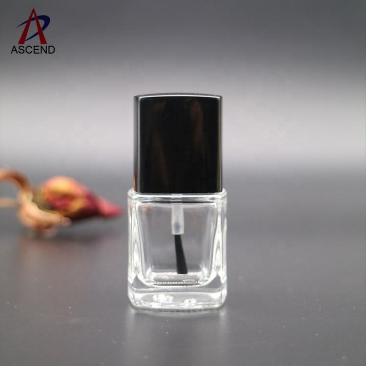 Wholesale Custom 13ml Fancy Square Empty Nail Varnish Sets Bottle with black Cap and flat Brush