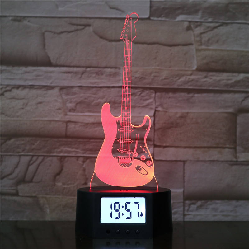 Guitar Type 3D Alarm Clock Night Light 7 Color Change LED Illusion Table Lamp With Remote Control
