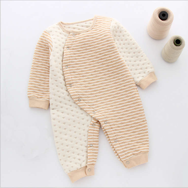 high quality organic cotton baby girl thermal romper long sleeve romper winter