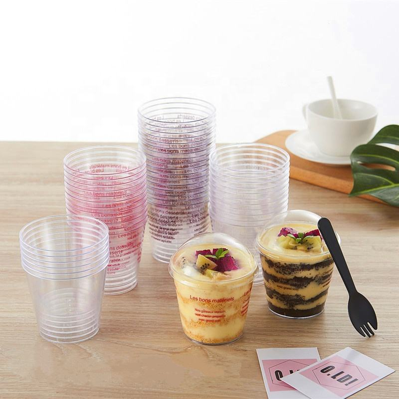 Disposable mini plastic jelly pudding dessert cake square dessert cup with lid