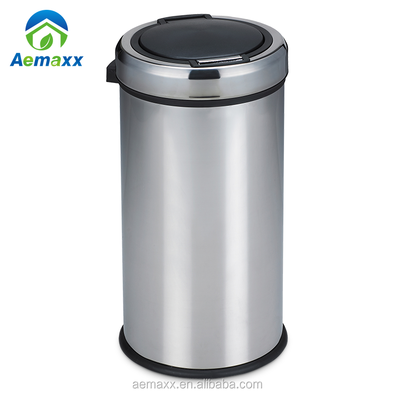 Various Size Push Bin Recycle PP Inner Bucket Plastic Cover Push Bin Large Capacity Stainless Steel 410 Push Trash Bin