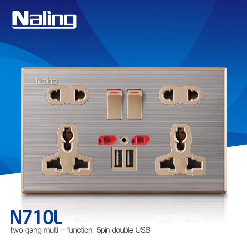 Double 13A 5-PIN Electric Socket