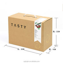 2018 Popular New Design Print Packaging Cardboard Corrugate Paper Carton Box Package Empty Box With PVC Plastic Handle