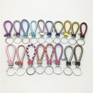 Custom Keychain Handmade Colorful PU Leather Braided Rope Key Tag Custom Weave Car Braided Leather Keychain With Logo