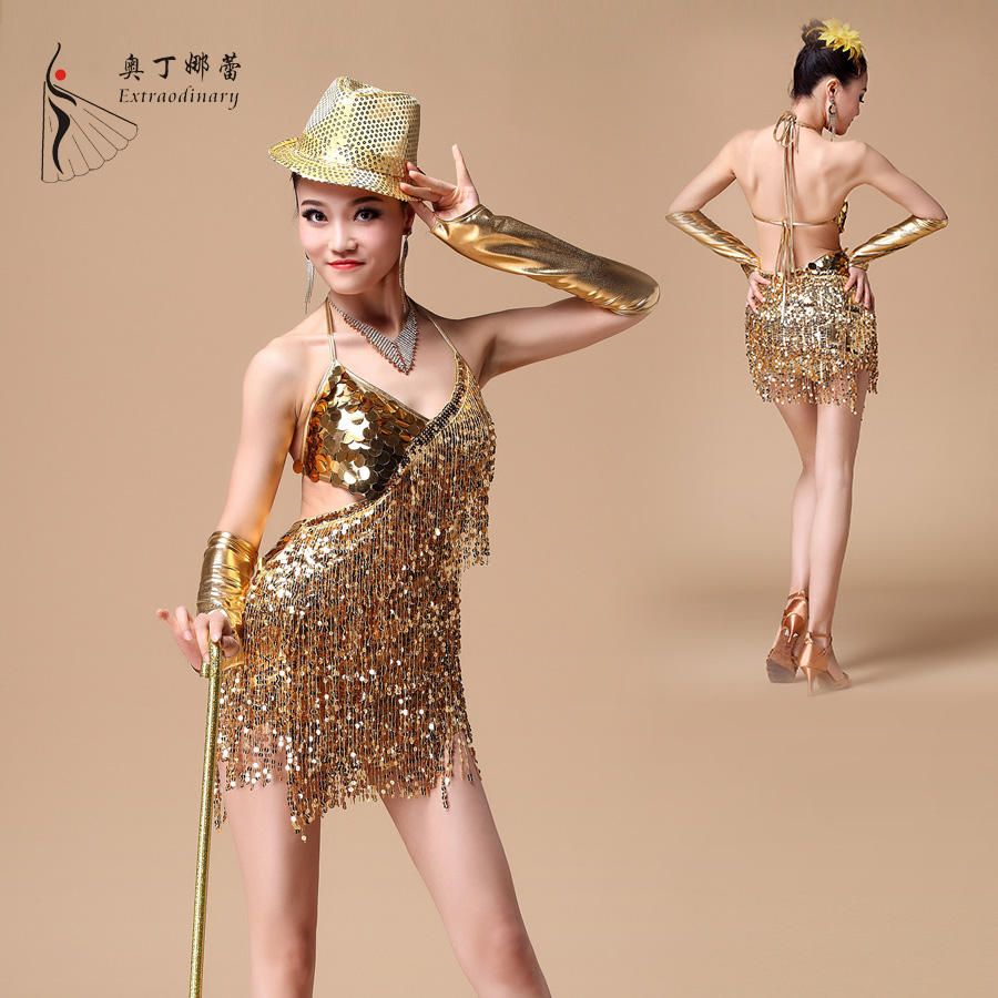New arrival cheap ballroom costume sequin tassel latin jazz dance dress for competition