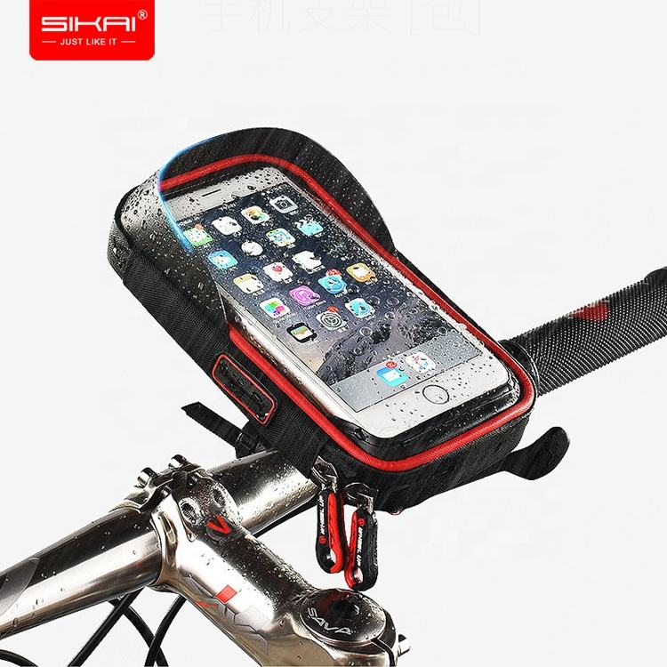 SIKAI 2019 Dropshipping Touch Screen Waterproof Bike Bag Handlebar Phone Mount Bicycle Mobile Phone Holder