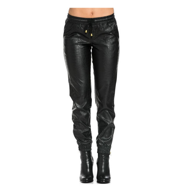 Custom Faux Leather Pants Men Black Leather Jogger Pants Black Leather Sweatpants