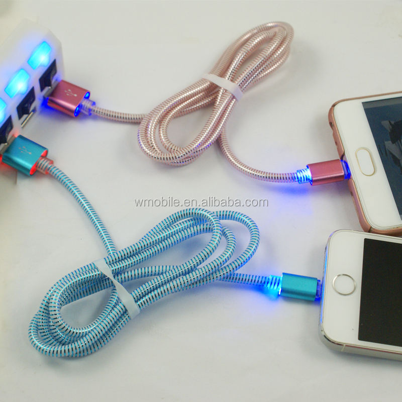 Sold metallic case 2A 3ft length led flash light usb data cable micro for android phone 8 pin for iphone