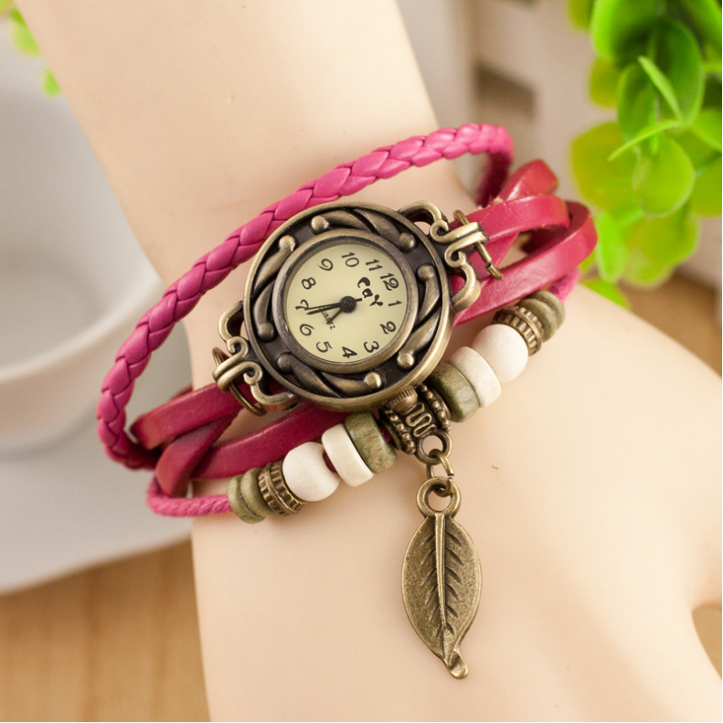 Free shipping Vintage Leather Strap Bracelet Women Lady Quartz Watches Leaf Pendant Braided Rope Watches