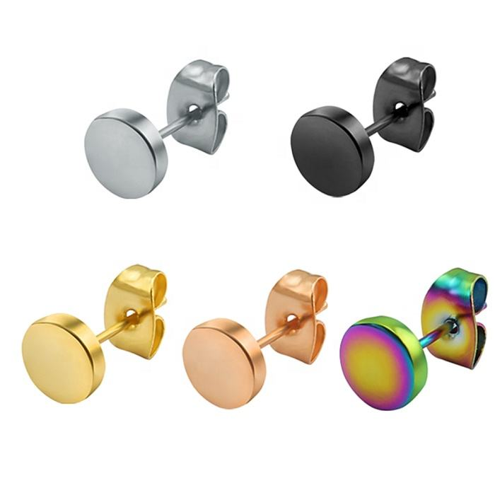 Round shape cheap wholesale men women stainless steel silver/gold/black/colorful/rose gold simple stud simple design earrings