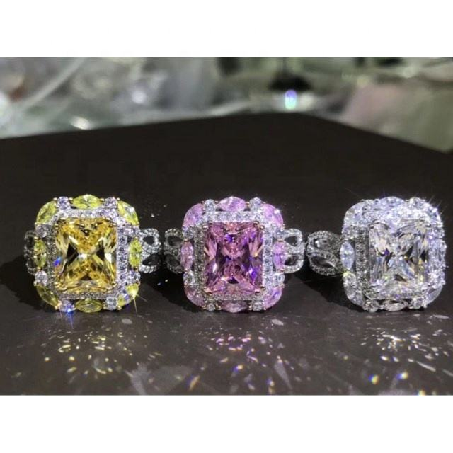 3 Color Big CZ Zircon Stone Silver Rings for Women Fashion Wedding Engagement Jewelry New Designs