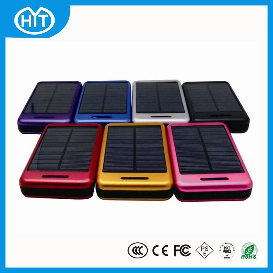 Real capacity 10000mah battery metal case with rohs portable solar charger for cell phone