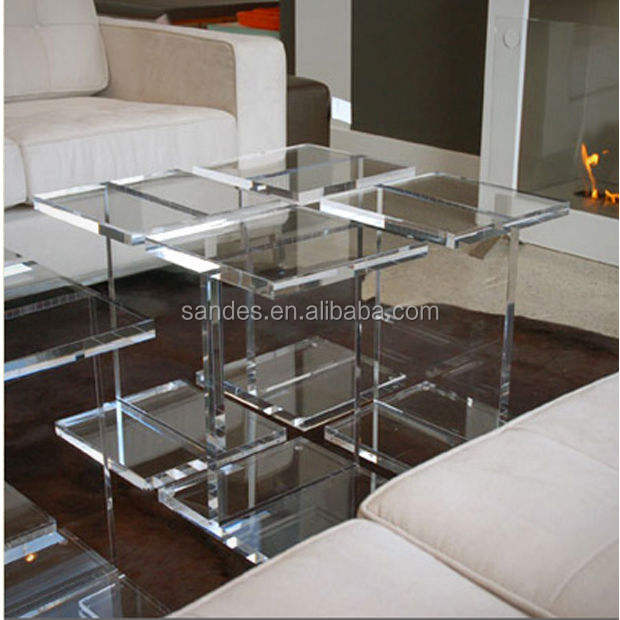 Transparent Plastic Coffee Table Design Clear Sq Acrylic Coffee Table