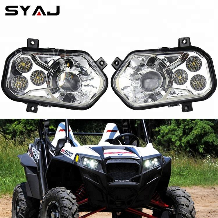 2PCS LED Headlight w// Halo Angel Eye For Polaris RZR XP 1000 4 RZR 900 S 14-17