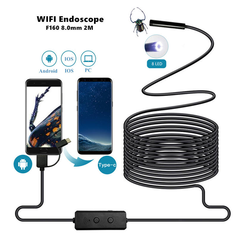 Newest Wifi Endoscope Iphone Android PC IOS Camera 2M Cable HD 8mm 2.0M Pixel 70 Degree Angle F160 30fps Wireless Borescope