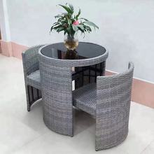 Unique Outdoor Garden Furniture Rattan Coffee table set For Coffee Shop