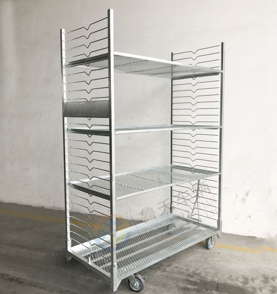 flower shipping metal rack, flower display greenhouse trolley nursery cart, plant rack trolley cart