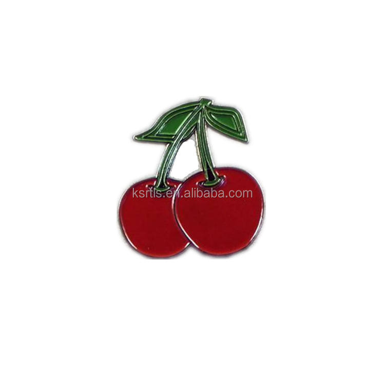 Cherry Enamel Pin Badge Factory Custom Metal Enamel Cute Fruit Cherry Apple Lapel Pin