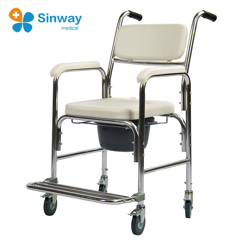 Hot Sale Stainless Steel Shower Commode Toilet Chair with Wheels