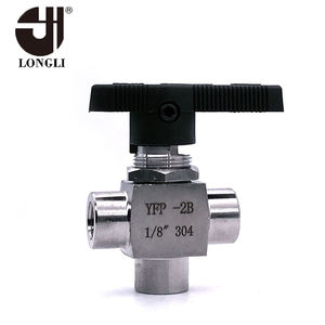 YFP-2B silver color stainless steel manual control pneumatic ball valve