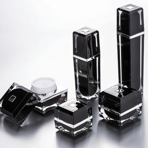 Black Acrylic Cream Jar Eco Friendly Sets Luxury Plastic Cosmetic Packaging