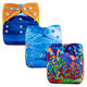 Ananbaby Durable Double Absorption Washable Ocean Animal Print Baby Pocket Diapers