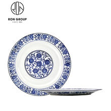 Wholesale Blue And White Porcelain Ceramic Flat Dinner Plate