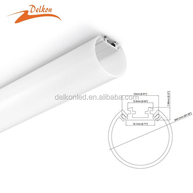 Diameter 40 Mm Putaran LED Aluminium Profil Tergantung Light LED Aluminium Channel LED Strip Perumahan