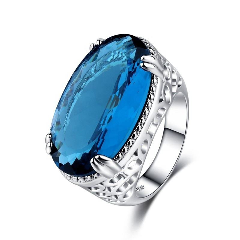 AC018116 AngryCat Big Blue CZ Cubic Zircon Stone Silver Rings for Women Fashion Jewelry Valentines Day Gift