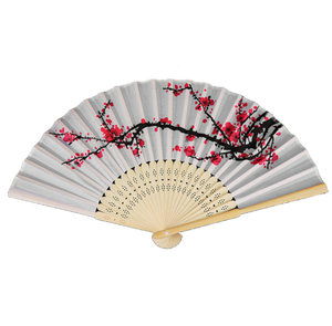 Fancy Chinese Japanese Hand Held Folding Plum Blossom Silk Bamboo Wedding Fan