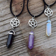 Pentagram and Crystal Necklace Wiccan Pagan Jewellery Opalite Moonstone Crystal Spiritual Choker