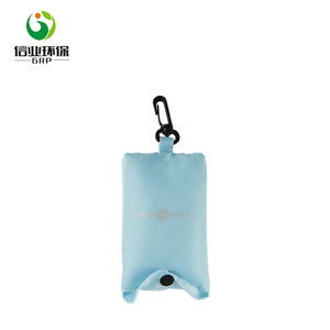 oem nylon folding tote reusable key ring shopping bag with pouch