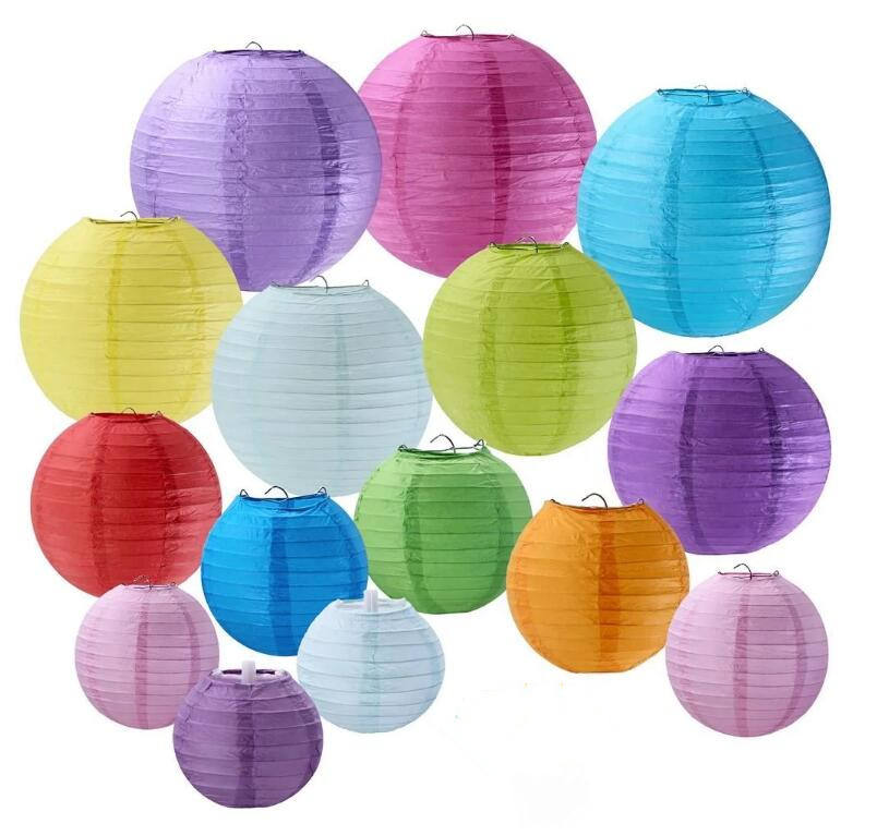 Paper lantern with light and printing for decoration in festival and party