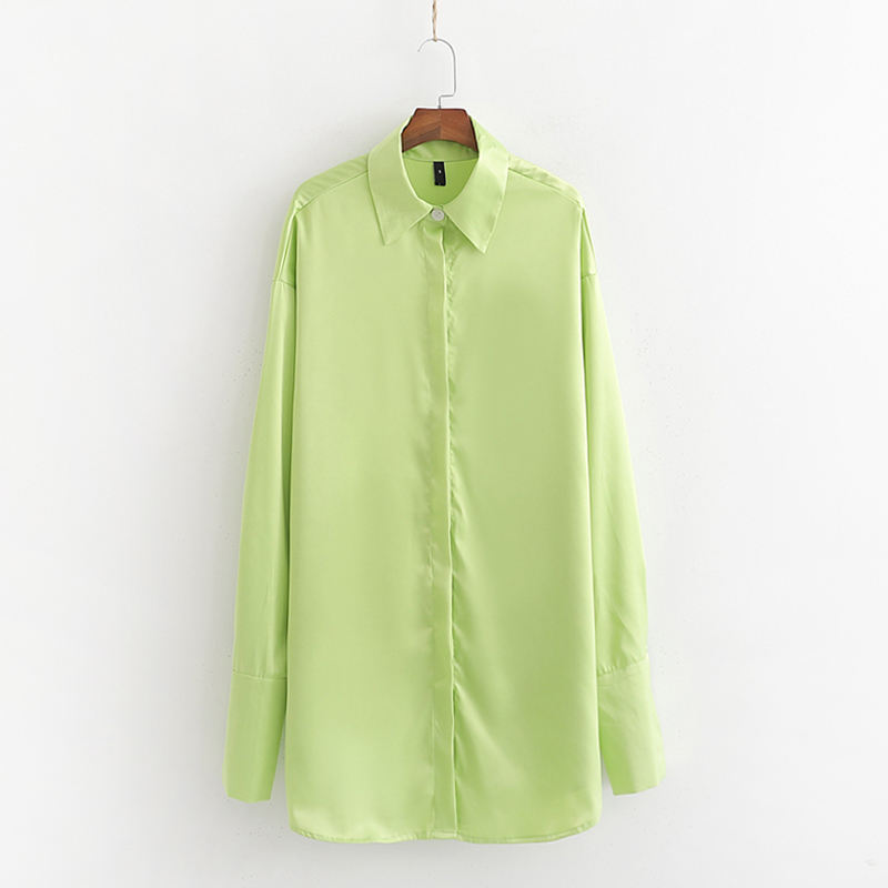 High fashion design green color turn down collar oversized long sleeve blouse women apparel