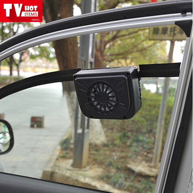 Solar powered auto cool fan air vent keeps your parked car cooler