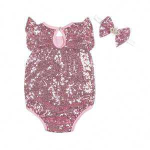Toddler Baby Clothing Cotton Solid Color Sequin Glitter Newborn Baby Clothes Romper With Headband