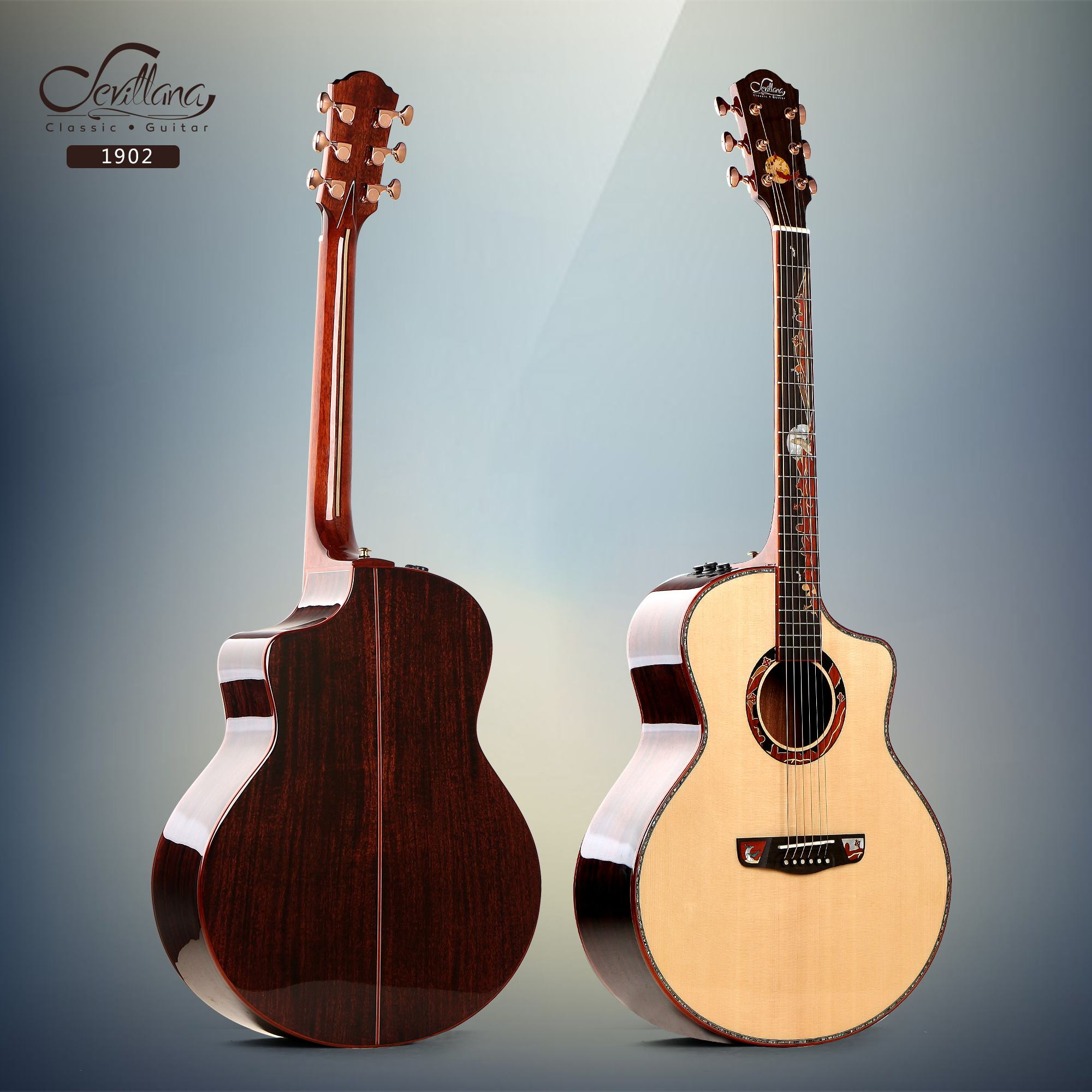 41 inch all solid acoustic guitar with luxury resonate EQ hand made luxury artful inlay China wholesale 1902-S1/T1